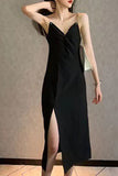 New chain sexy V-neck kink Slim side split halter strap long skirt bag hip