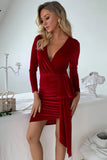 Velvet Long Sleeves Dress Women Clothing Warp Bandage Sexy V Neck Ruched Party Club Dress Solid Bodycon Dress