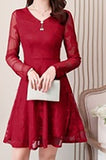 New Fashion women's French popular fairy long skirt waist slim lace dress