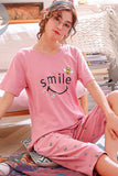Knitted Cotton Cartoon Pajamas Sets Women Pyjamas Sleepwear Nightwear Pijama Mujer Plus Size Calf-Length Pants Homewear