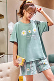 Green Sleepwear Sets For Women Lovely Avocado Pattern Pajamas 100% Cotton Short Home Wear Hot Sale Femme Underwear Pijamas