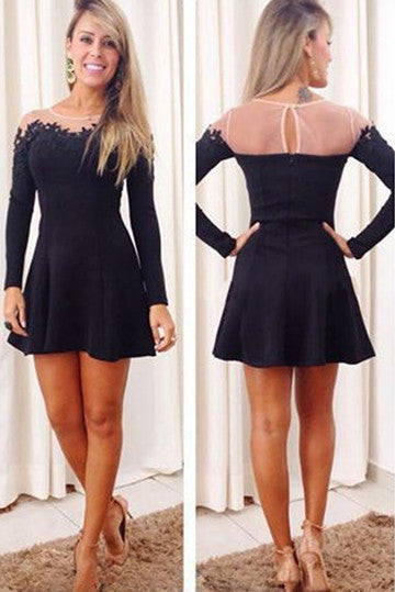 Fashion chiffon lace long-sleeved dress