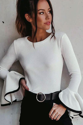 Pagoda Sleeve Round Neck Knit Top Sweater Pullover