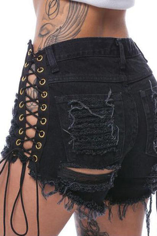 Crisscross Ripped Hole Denim Shorts