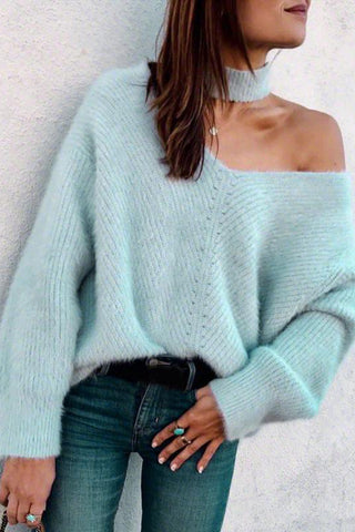V-Neck Solid Color Off Shoulder Top Sweater Pullover
