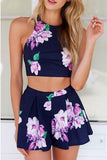 Fashion printed Halter Neck two-piece