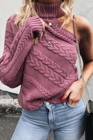 Off Shoulder High Collar Knit Top Sweater Pullover