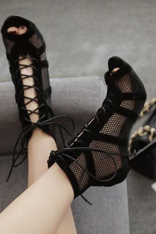 Hollow Peep Toe Fashion Women Strappy High Heels Shoes
