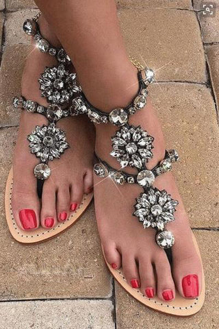 Rhinestone Fashion Women Sandals Flats Shoes