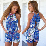 Sexy sleeveless printing jumpsuit rompers