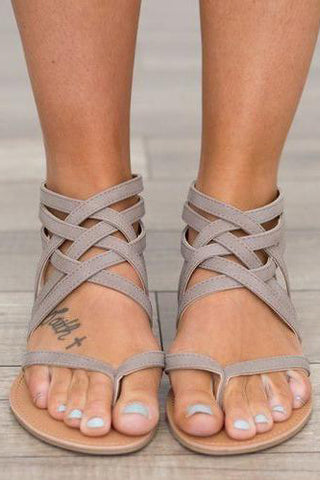 Crisscross Zipper Hollow Fashion Women Sandals Flats Shoes