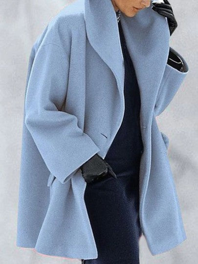 Women Button Turndown Collar Long Sleeve Elegant Wool Coat