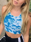 Women Tie Dye Print U-neck Sleeveless Fashion Party Crop Vest