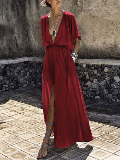 Women Deep V-neck Draped Pockets High Waisted Slit Flowy Elegant Party Maxi Dress
