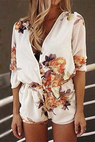 Fashion V-Neck Print Rompers Jumpsuit