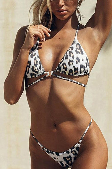 High Waist Retro Push-Up Gather Bikini Set Swimsuit Swimwear