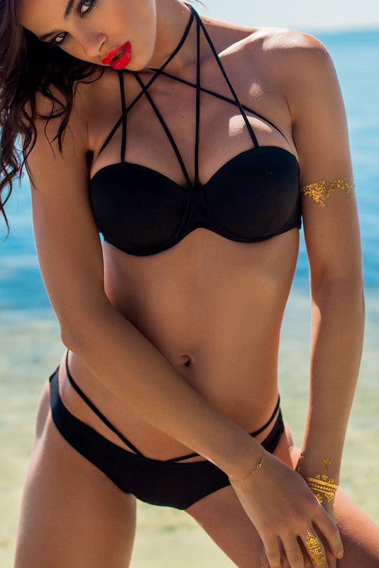 Sexy Hollow Out Cross Bikini Swimsuit Swimwear