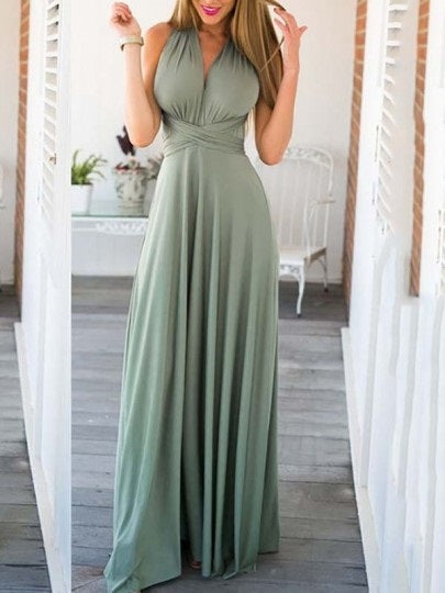 Women Backless Cross Back Flowy Pleated V-neck Homecoming Party Prom Sweet Maxi Dress