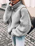 Women High Neck Long Sleeve Oversize Fashion Pullover Sweater