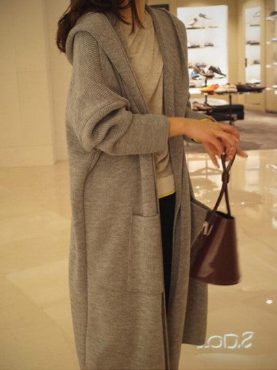 Women Pockets Cut Out Hooded Long Sleeve Casual Cardigan Long Coat