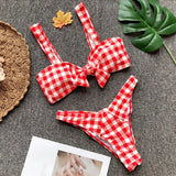 Cute Plaid Bow Bikini Swimwear Swimsuit