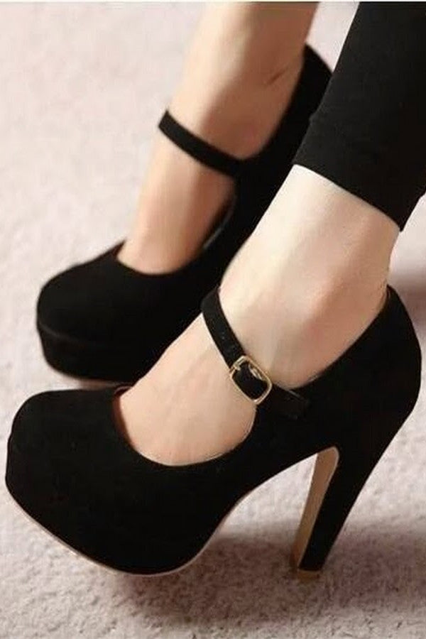Fashion Solid Color Round Head High Heels Shoes