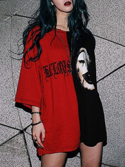 Women Monogram Embroidery Clown Print Horrific Casual Halloween T-Shirt Dress