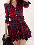 Women Tartan Chess Single Breasted Ruffle Belt Wavy Edge Elegant Vintage Mini Dress