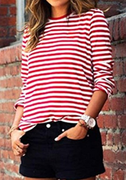 Women Striped Print Long Sleeve Round Neck Fall Fashion Casual T-Shirt