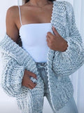 Women Oversize V-neck Lantern Sleeve Fashion Cardigan Sweater