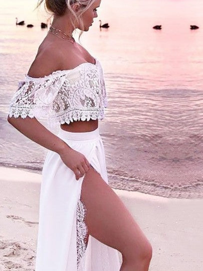 Women Lace Two Piece Slit Off Shoulder High Waisted Bohemian Elegant Maxi Dress