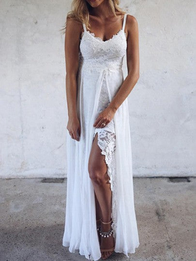 Women Patchwork Lace Irregular Silt Spaghetti Strap Beach Wedding Party Maxi Dress