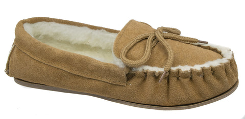 ab83c717d2696 Mens Moccasin Slippers / Tan Brown Warm Wool Lined Lodgemok 002