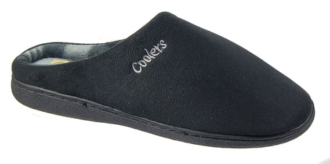 68015affcacbc Mens Mule Slippers / Black Fleece Warm Lined Slip On Check Coolers 054