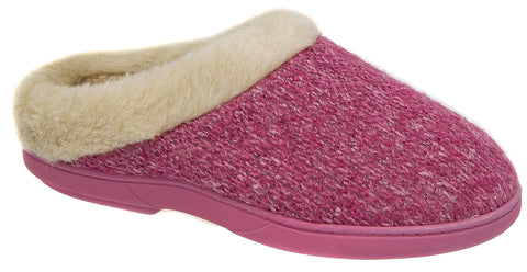 Womens Ladies Mule Slippers / Pink Knitted Warm Lined Ski Back Slip On Coolers