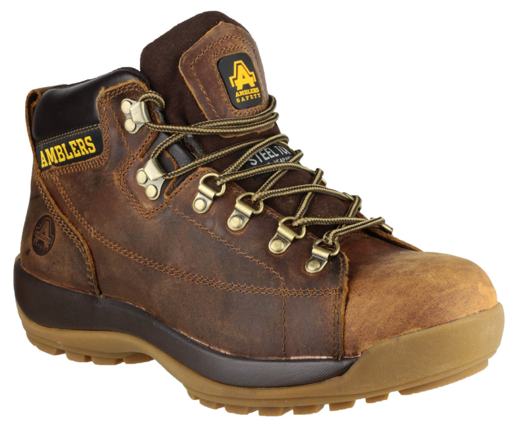 973cb6d7321 Mens Safety Work Boots / Brown Leather Laced Industrial Steel Toe Cap  Amblers FS126