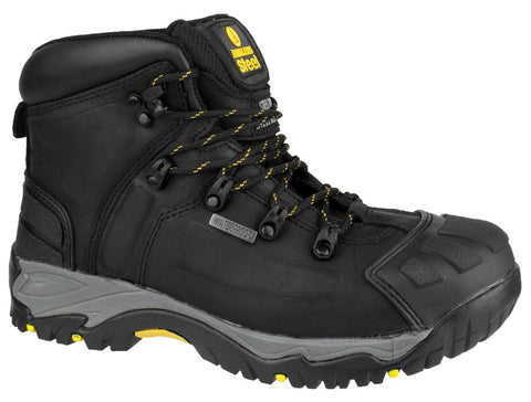 MENS STEEL TOE SAFETY WORK INDUSTRIAL LEATHER CAPPED ANKLE PADDED BLACK BOOTS