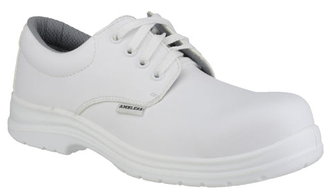 075d6011cd02 Mens Safety Shoes / White Composite Metal Free Laced Kitchen Hygiene  Amblers FS511