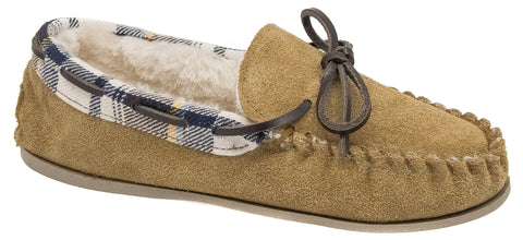 90177fce1bc Ladies Cotswold Tan Brown Leather Suede Warm Lined Moccasin Slippers  Kilkenny