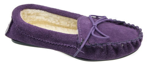 0245a003bdc8 Womens Moccasin Slippers / Purple Leather Slippers – Mega Footwear