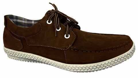 de1711b9b96 Mens Leather Shoes   Brown Nubuck Laced Casual Leisure Yachtsman ...