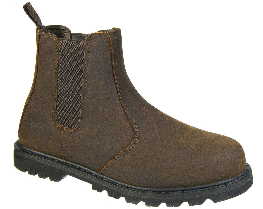 ffff4f395ad Mens Safety Work Boots / Brown Leather Chelsea Steel Toe Cap Slip On  Grafters M539B