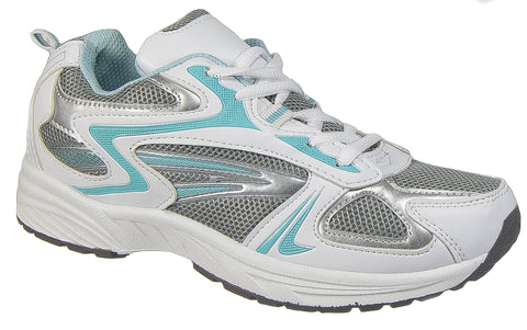 d9f2149ae384 Womens Ladies Trainers / Blue White Gym Sport Running Laced DEK T877GC