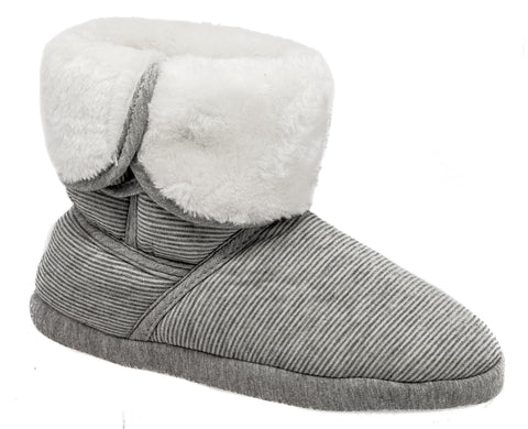 Ladies Coolers Grey Fluffy Lined Jersey Knit Boot Slippers W152