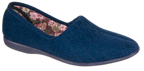 ab19343118b1 Womens Ladies Slip On Slippers / Navy Blue Textile Rubber Soled GBS