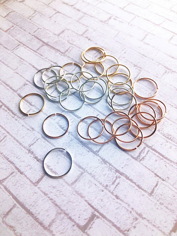 Set of 3 Custom Nose Rings Hoops Earrings Earlobe 14k Gold Filled 4mm 5mm 6mm 7mm 8mm 9mm 10mm 11mm 12mm  26 24 22 20 Gauge Tiny Small Large