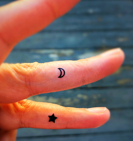 Moon and Stars Temporary Tattoos 20 Fake Faux Body Tattoos and Designs Finger Hand