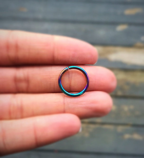 14g peacock niobium hoop ring, thick cartilage, earlobe, body jewelry, navel belly, nose ring, men's hoop, 8mm 10mm 12mm real piercing