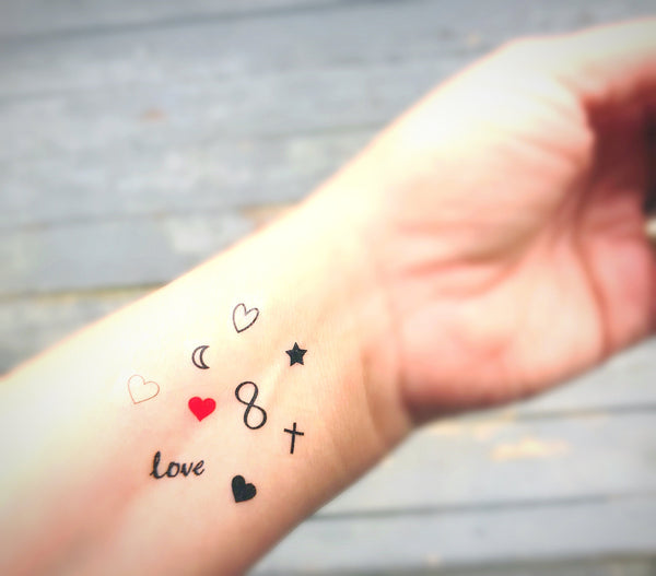 fake tattoo set wedding tattoo bar heart infinity moons and stars cross tiny small finger temporary tats favors gifts
