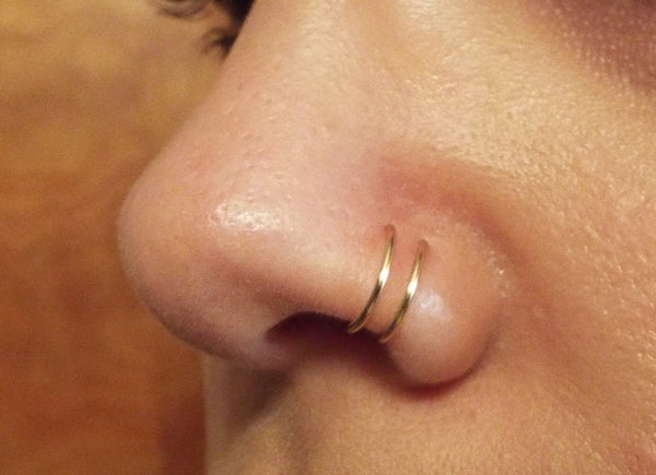 Gold double nose ring, fake piercing hoops, faux body jewelry, lip ring, punk nose rings, clip on nose ring, delicate tiny nose earrings